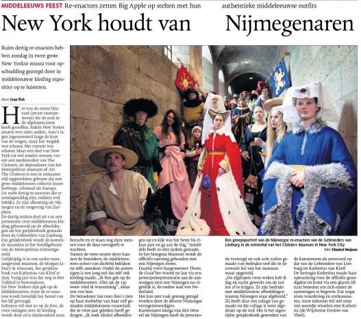 Publication 'Re-enactors Gebroeders  van Limburg - The Cloisters NY' | De Gelderlander, March 2011