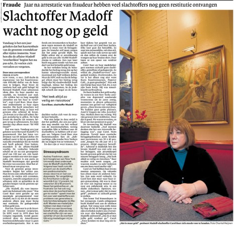 Publication 'Madoff victim NY' | NRC Handelsblad, November 2009