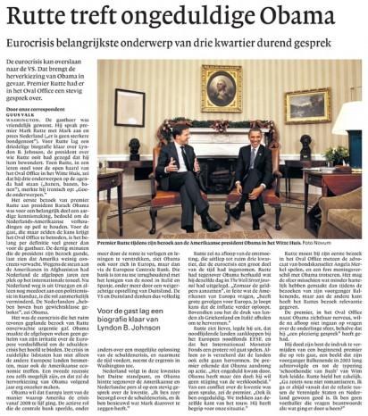 Prime Minister Rutte visits President Obama in the White House | NRC Handelsblad, November 2011