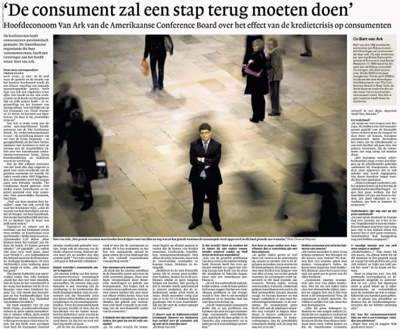 Publication 'Bart van Ark - economist at Conference Board NY' | NRC Handelsblad, December 2008