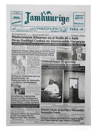 Publication in Somaliland's newspaper Jamhuuriya   December 31, 2010