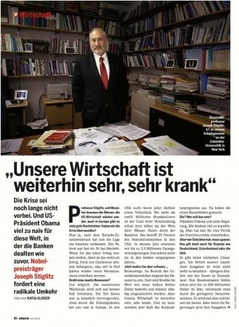 Publication 'Joseph Stiglitz - Economist at Colombia University NY' | Stern Magazine, March 2010