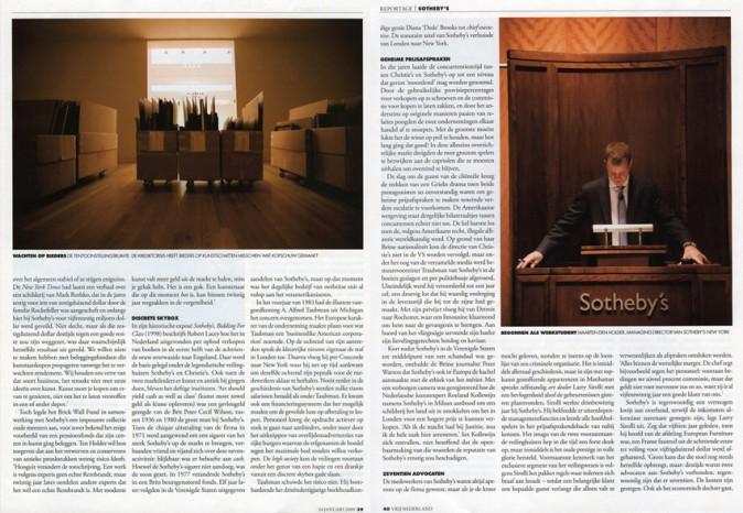 Publication 'Sotheby's NY' | Vrij Nederland, October 2008 | page 2
